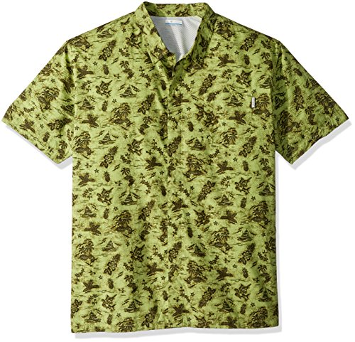 Columbia Mens Trollers Best Short Sleeve Shirt, Spring Fish Ahoy Print, Large