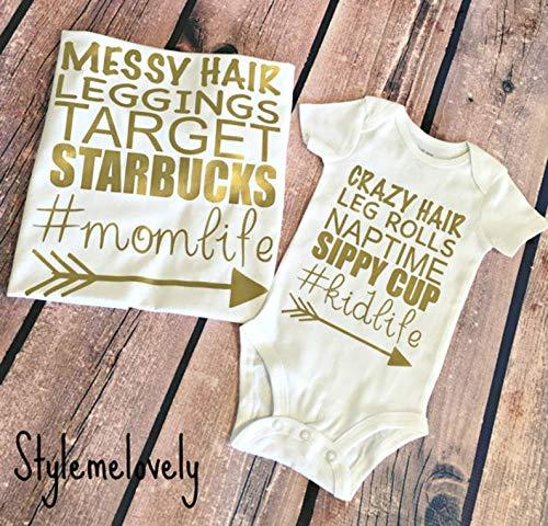 Mommy and Me Shirts, Mom Life Kid Life Shirt, Messy Hair Leggings Target Starbucks hashtag Momlife Shirt]()