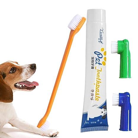 Cepillo de Dientes de Mascota Mallalah Cepillo de Dientes y Pasta de dientes para Perros (