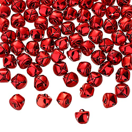 Jingle Christmas Bells, 300 Pieces Craft Bells, DIY Bells for Wreath, Holiday Home and Christmas Decoration (Red, 0.5 inch)