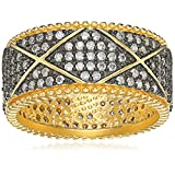 Freida Rothman Contemporary Deco Pave Eternity Ring, Size 6
