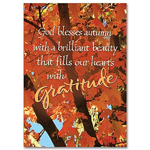 (God Bless Autumn Thanksgiving Deluxe Holy Greeting Religious Card with Embossed Envelope Glory Be to)