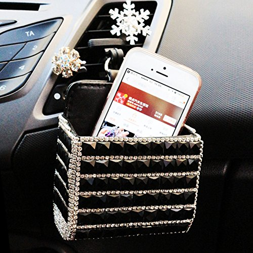 Lzttyee Bling Bling Design Car Air Vent Organizer Storage Pouch Pocket Cell Phone Hanging Holder for Cell Phone/Pen/Coin/Key/Glasses (Black)