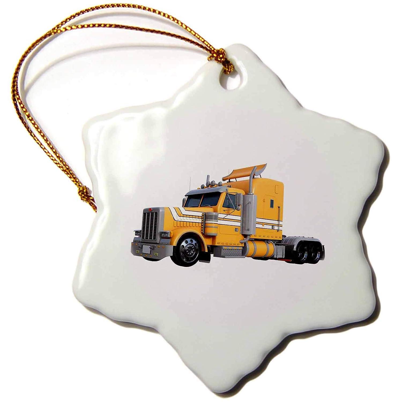 3dRose Boehm Graphics Trucking ORN/_255229/_1 3 inch Snowflake Porcelain Ornament Orange Semi Truck in Three Quarter View