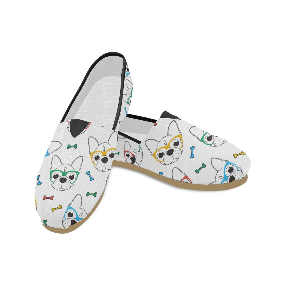 D-Story Fashion Sneakers Flats Cute Sunglasses Pug Women's Classic Slip-on Canvas Shoes Loafers