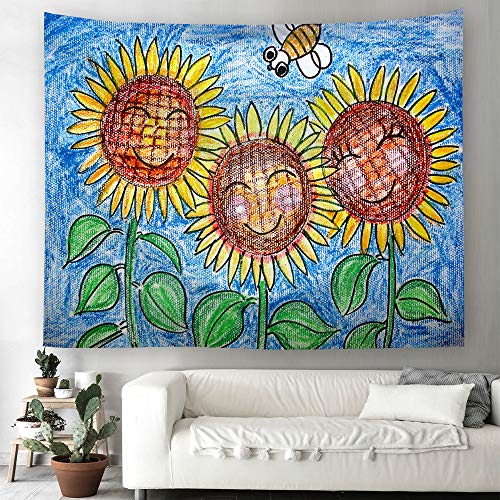 Grace store Sunflower Wall Tapestry Hanging Cartoon Bee Flower Tapestry