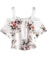 2018 Women Short Sleeve Blouse Off Shoulder Tops Lace Floral Casual T-Shirt TOPUNDER
