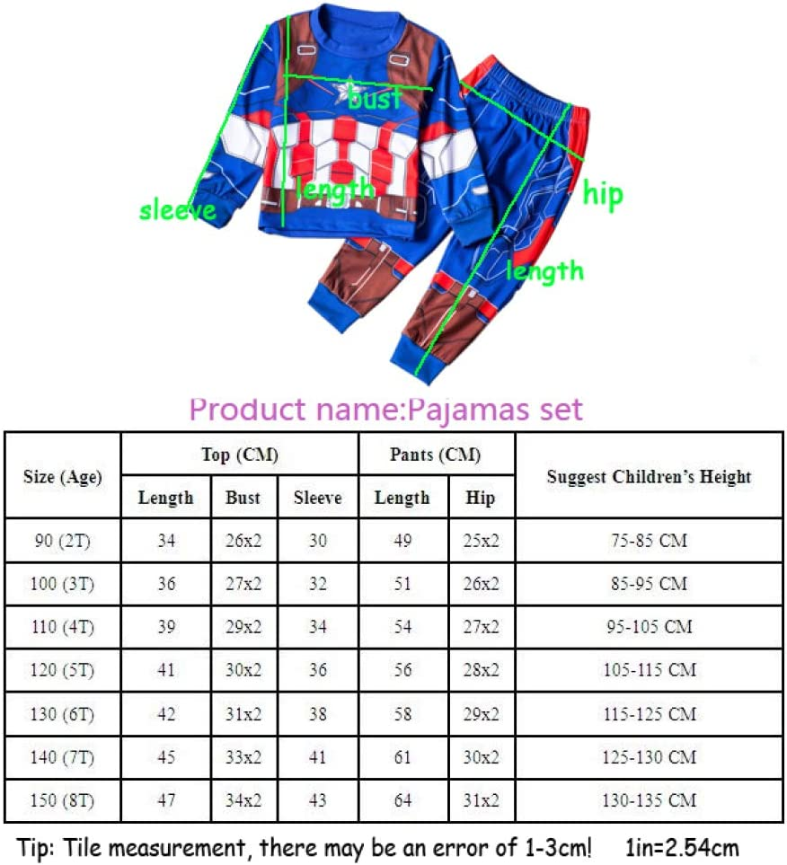 Captain America 2-8 Years Boys Pajamas Children Clothes Set Little Kids Pjs Sleepwear