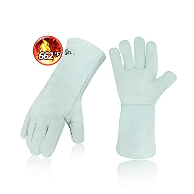 Vgo Cow Split Leather Welding Gloves For Oven, Grill, Fireplace, Stove, Pot Holder, Tig Welder, Mig, BBQ (1Pair, 13.5in, White, CB6501)