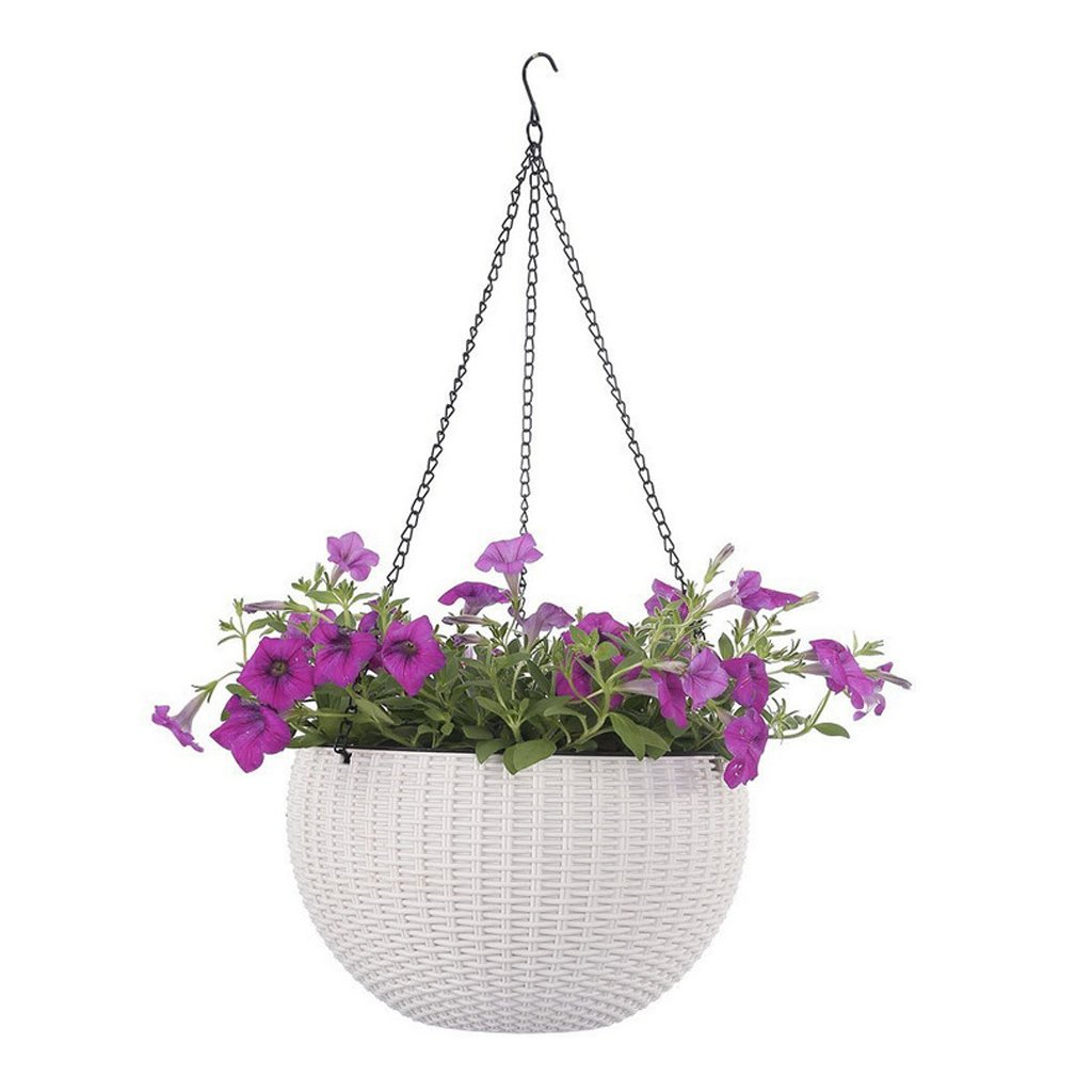 Baoblaze H/ängeampel Blumentopf Wandampel Hanging Sphere mit Geschlossener Innentopf ⌀21cm//⌀26cm Blau L