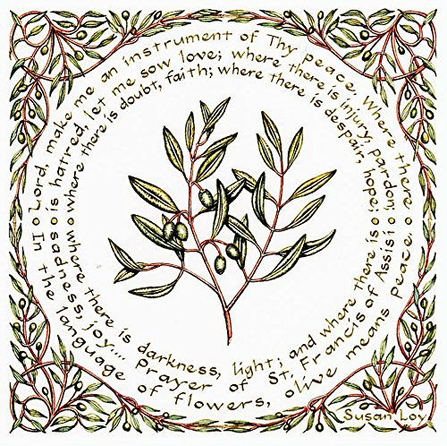 """(Literary Calligraphy """"Prayer of St. Francis"""" Art Print by Susan Loy )"""