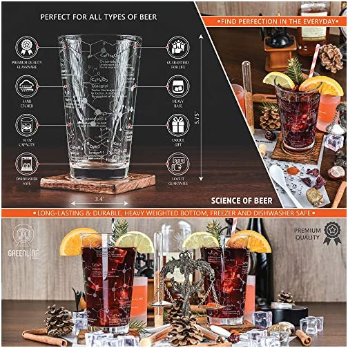 Greenline Goods Beer Glasses - 16 oz Pint Glass (Set of 2) – Science of Beer Glassware - Etched with Beer & Hops… |