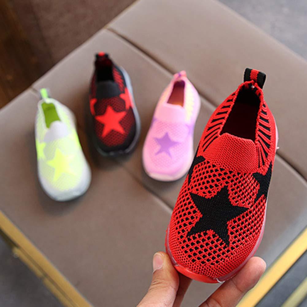 Alamana Fashion Star Print Kids Girls Boys LED Light Sneaker Anti-Slip Casual Shoes Pink 27