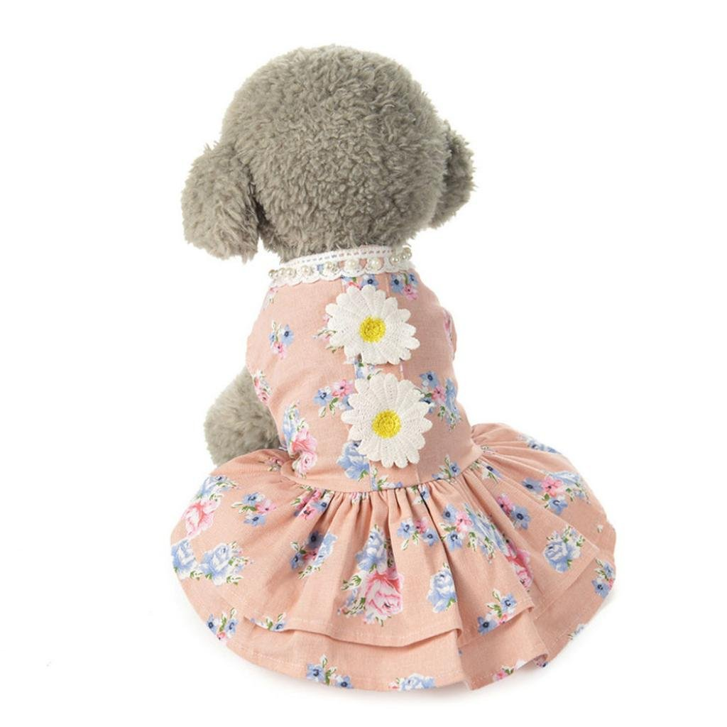 Pet Dress, Howstar Dog Cat Lace Skirt Floral Print Bow Pet Puppy Clothes (Pink, M)