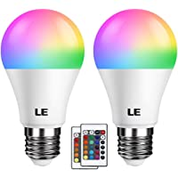 LE Colour Changing Light Bulb E27, RGB + Warm White, 6W Dimmable, A60 LED Bulb, 16 Color Choices for Home Decoration, Remote Controller Included, Pack of 2