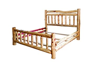rustic red cedar log bed queen size wagon wheel styleheadboard footboard