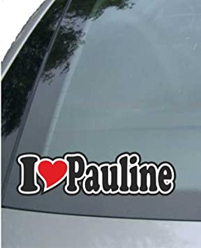 Indigos Ug Aufkleber Autoaufkleber I Love Heart Ich Liebe Mit Herz 15 Cm I Love Pauline Auto Lkw Truck Sticker Mit Namen Vom Mann Frau Kind Auto