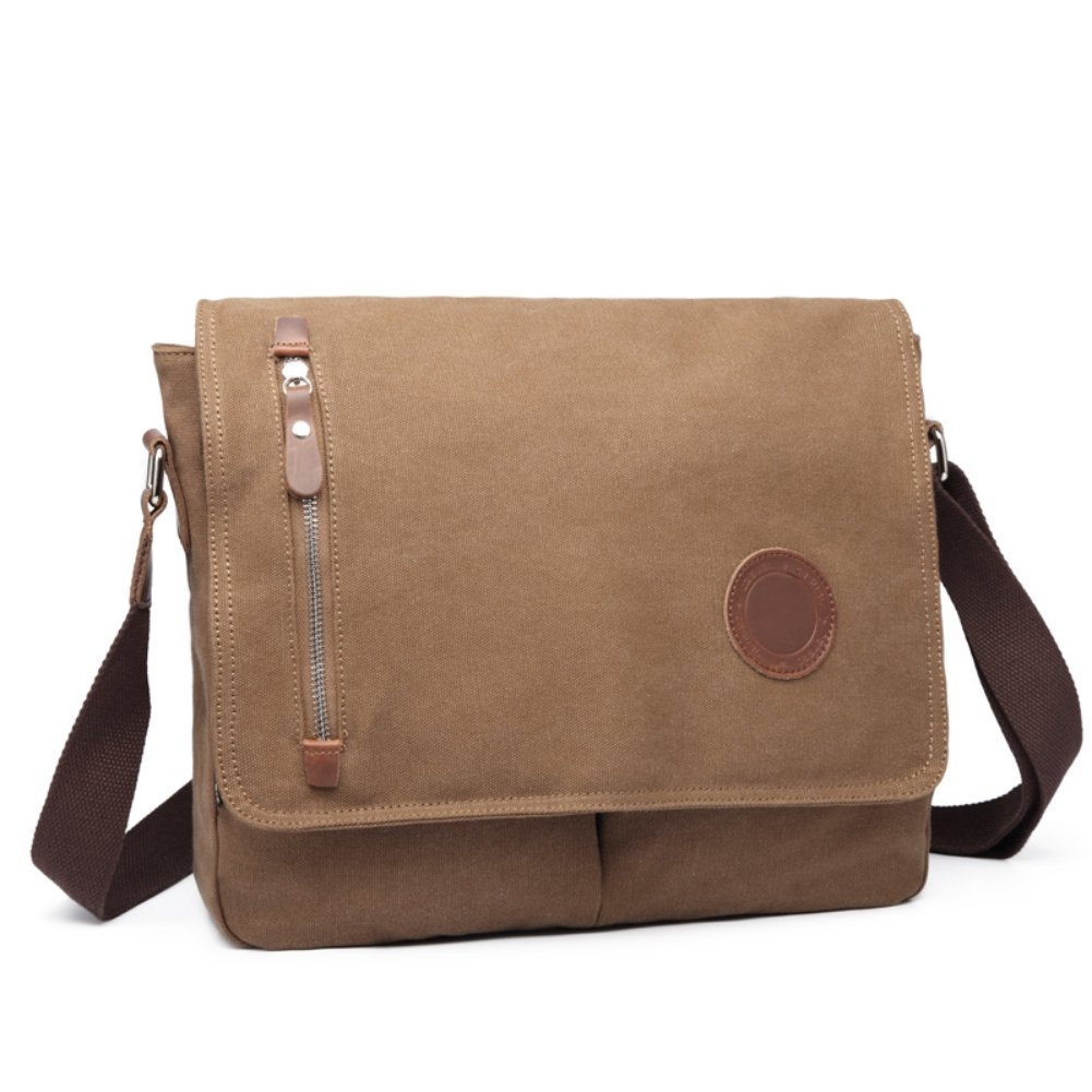 DricRoda Vintage Canvas Briefcase Cross Body Shoulder Bag,Large Capacity Messenger Laptop Satchel Bag with Durable Adjustable Cotton Braided Shoulder Strap for Laptops up to 10 Inches,Coffee Brown