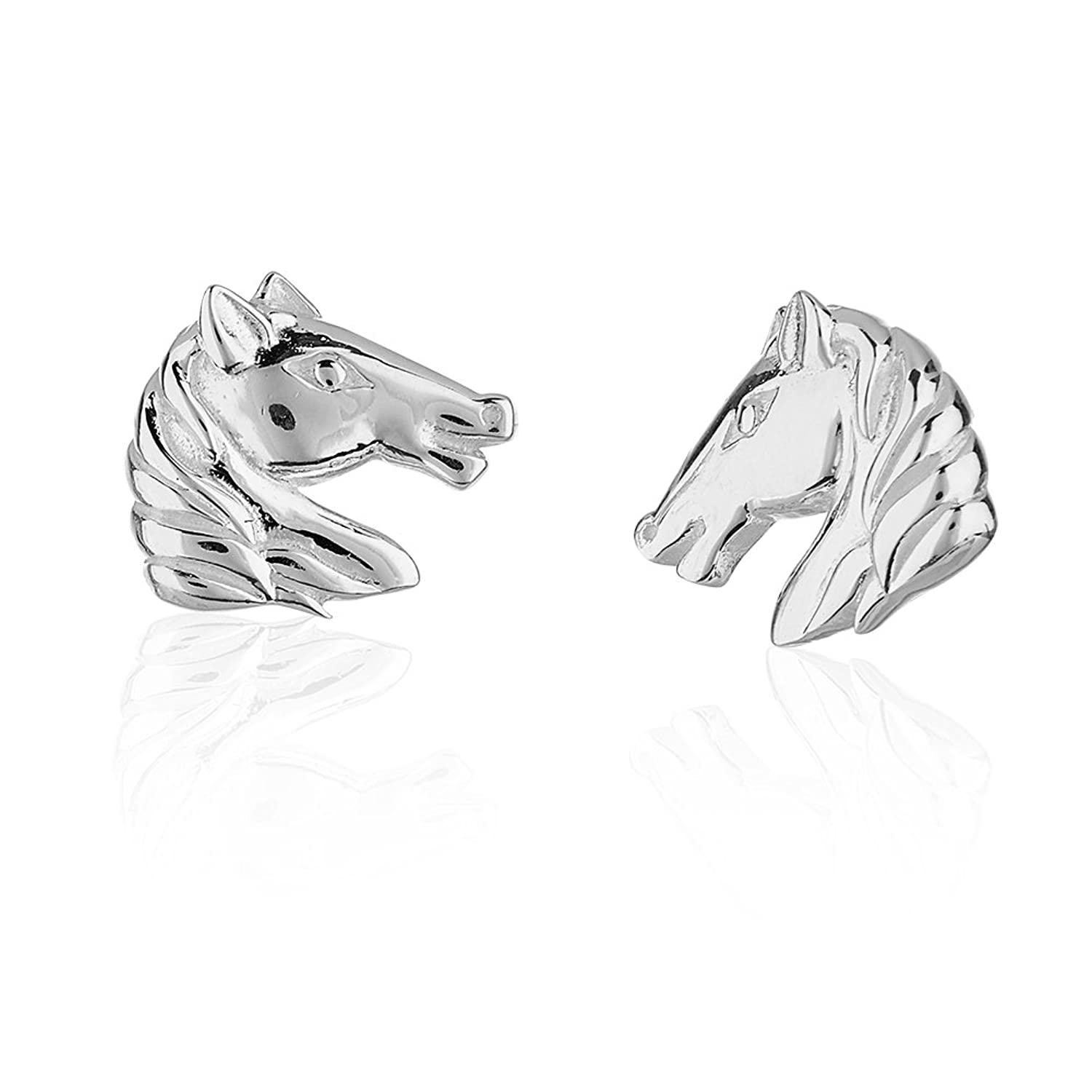 Children's 925 Sterling Silver Horse Face Equestrian Stud Earrings