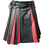 Mens Black Red Leather Pleated Utility Kilt Flat Front Pocket Wrap - K10 (Custom)