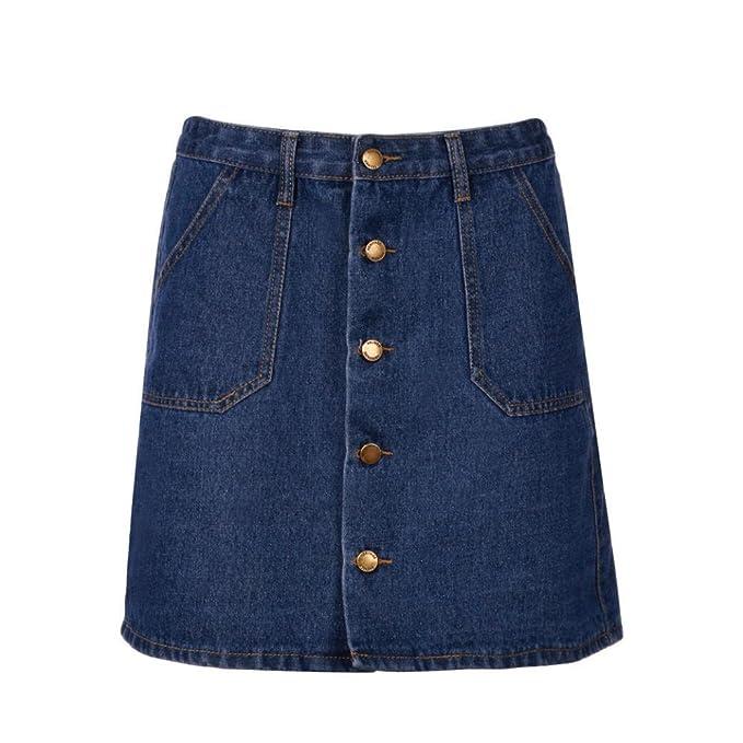 Odejoy Vintage Minigonna Donna Vita Alta Estate Gonna Di Jeans  Elasticizzata Gonna Denim Donna Vestiti di Jeans A-line Mini Gonna a Vita  Alta Elegante ... 7fdd4bbe072