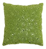 Cotton Craft - Peacock Hand Beaded Decorative Pillow 12x12 Square Chartreuse, Painstakingly and lovingly handmade by skilled Artisans, A beautiful and elegant accessory to dress up your couch, sofa or bed