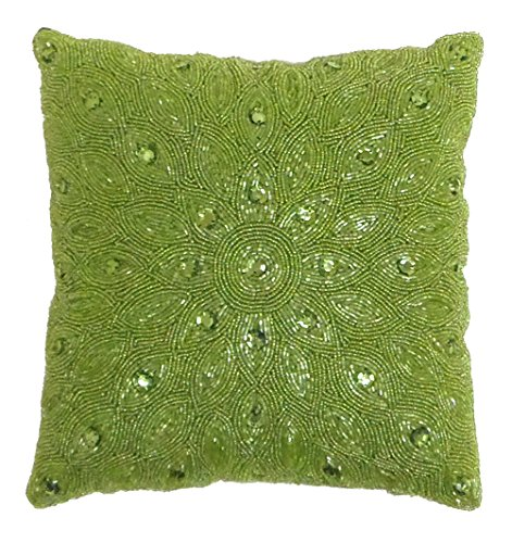 Cotton Craft - 2 Pack - Peacock Hand Beaded decorative Pillow Cover - 16x16 - Chartreuse - Meticulously & lovingly handmade by skilled Craftsmen - Cover (Beaded Throw Pillow)