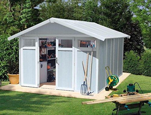 Caseta cobertizo resina jardin grosfillex utility 7.5 m2 color gris-verde claro: Amazon.es: Bricolaje y herramientas