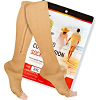Zipper Compression Socks with Zip Guard Skin Protection & Open Toe