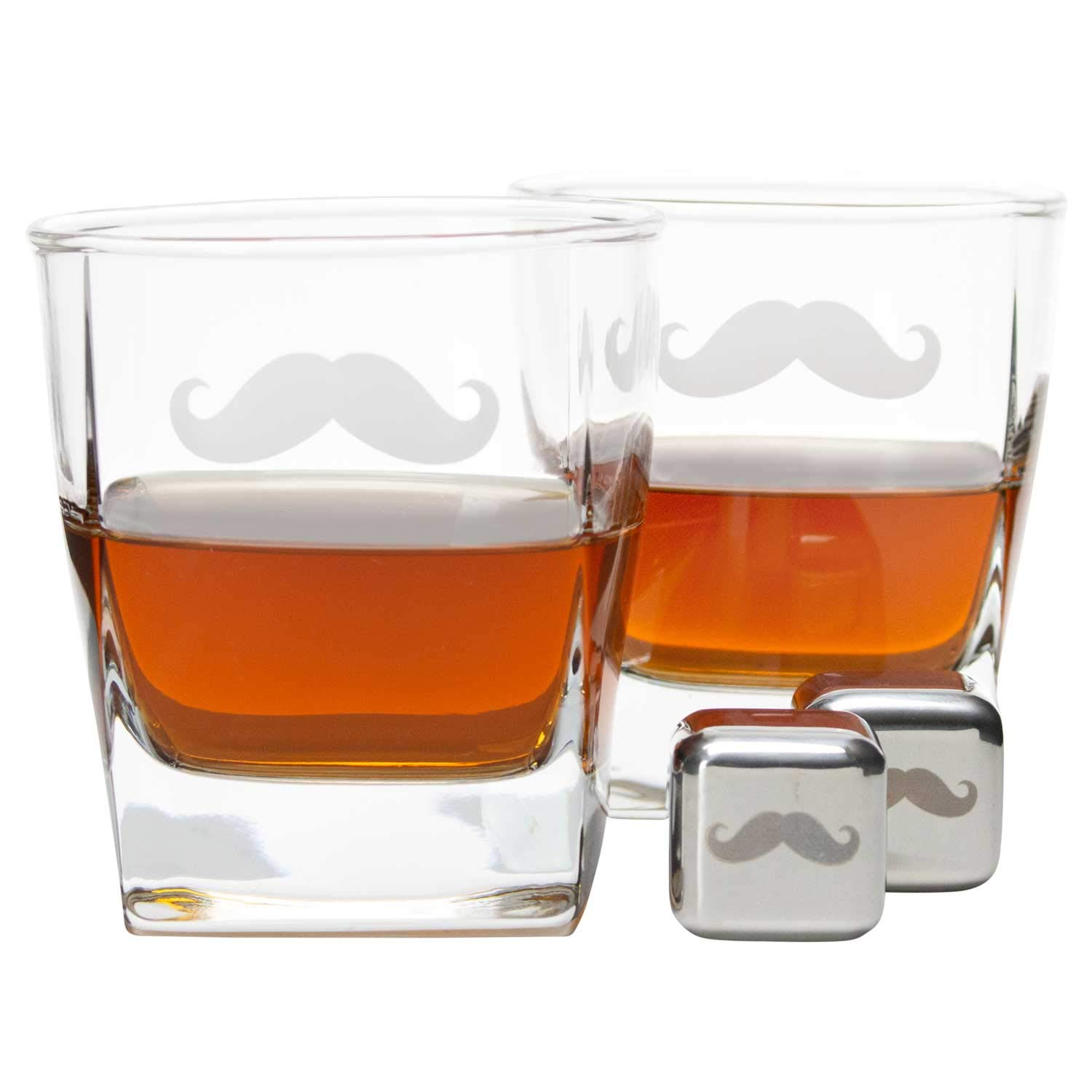 Comes in Wooden Box with Inner Lid Design Atterstone Whiskey Box Set with 2 Glasses and Chilling Stones with Matching Mustache Etchings Ideal for Holiday and Wedding Gifts