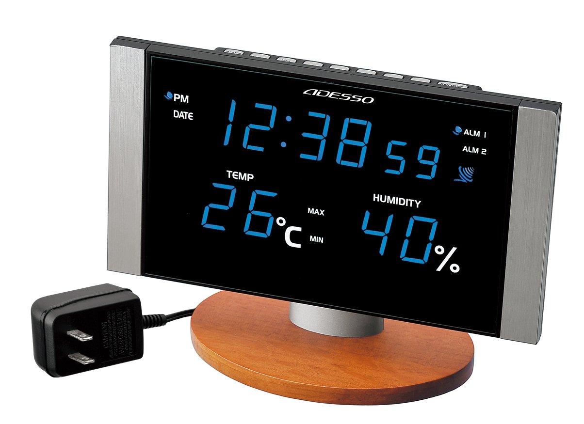 ADESSO(アデッソ) 電波デジタル目覚まし時計 ブルーLED表示 温度湿度表示 C-8305BL B0029NZVY6ブルー