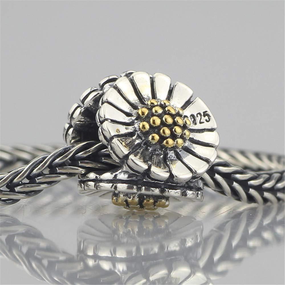 Calvas Jewelry Genuine 925 Sterling Silver Daisy Flower Charm Bead Fits European Troll 3.0mm Bracelet