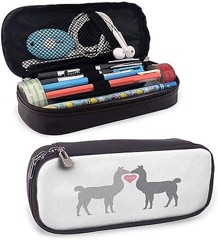 Estuche para bolígrafos con cremallera Llama para la escuela Dos animales enamorados de un corazón de San Valentín entre ellos Animales en escala de grises: Amazon.es: Oficina y papelería