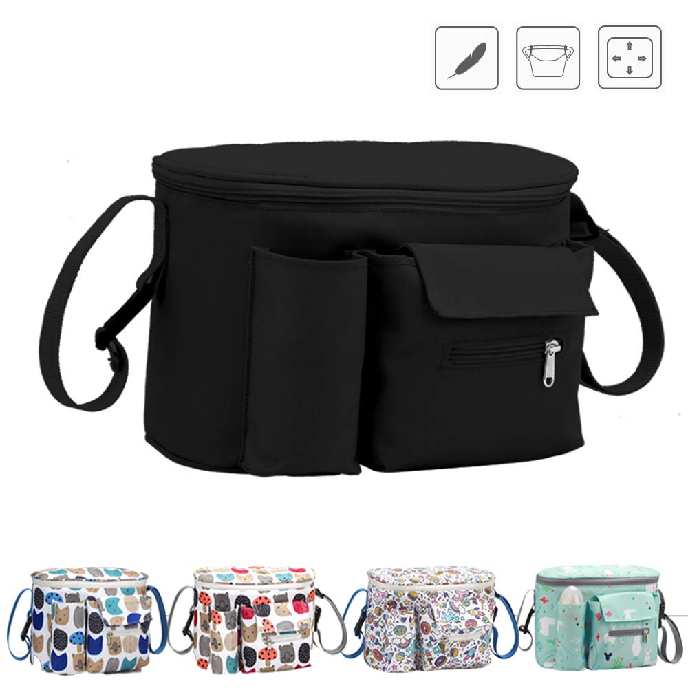 Stroller Organizer Bag,Super-ele,Deep Cup Holders,Extra-Large Storage Space,Instant Access Wipe Pocket, Universal Strap Fit, Large Storage Space for Diapers & Phone (Black)