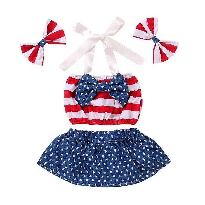 Amazon.com: 4 de julio Bebé Niña Trajes Bandera Americana ...