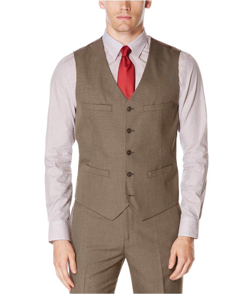 Perry Ellis Men's Regular Fit, Pattern Twill Suit Vest, Chinchilla, X-Large