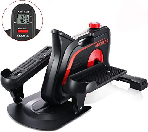 ANCHEER Mini Elliptical Machine, Compact Fitness Under Desk Stand Up Elliptical, Fully Assembled Compact Strider with Adjustable Resistance Built-in Monitor for Home Office Cardio Training