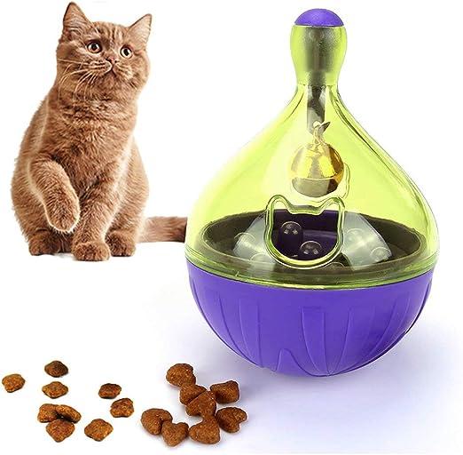 Snack Ball Gato Juguete de Inteligencia con Campana para Gatos Juguetes para Gatos Juguetes educativos para Gatos iq Trata Entrenamiento Interactivo Masticar Juguetes Gato: Amazon.es: Hogar