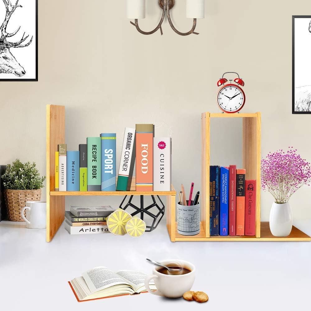 Hoseejoy Verstellbares Schreibtischregal aus Naturholz 13-24x6.7x13.8  Bambus