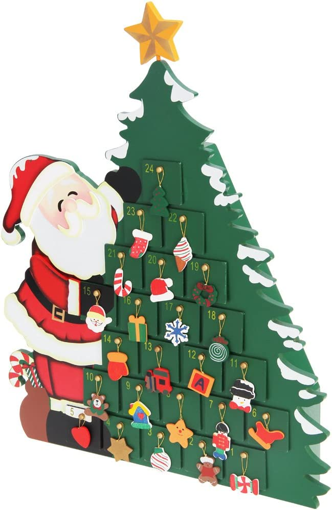 Albero Di Natale 852 Bambini.Calendario Dell Avvento Babbo Natale In Legno Con Cassetti Da Riempire Amazon It Casa E Cucina