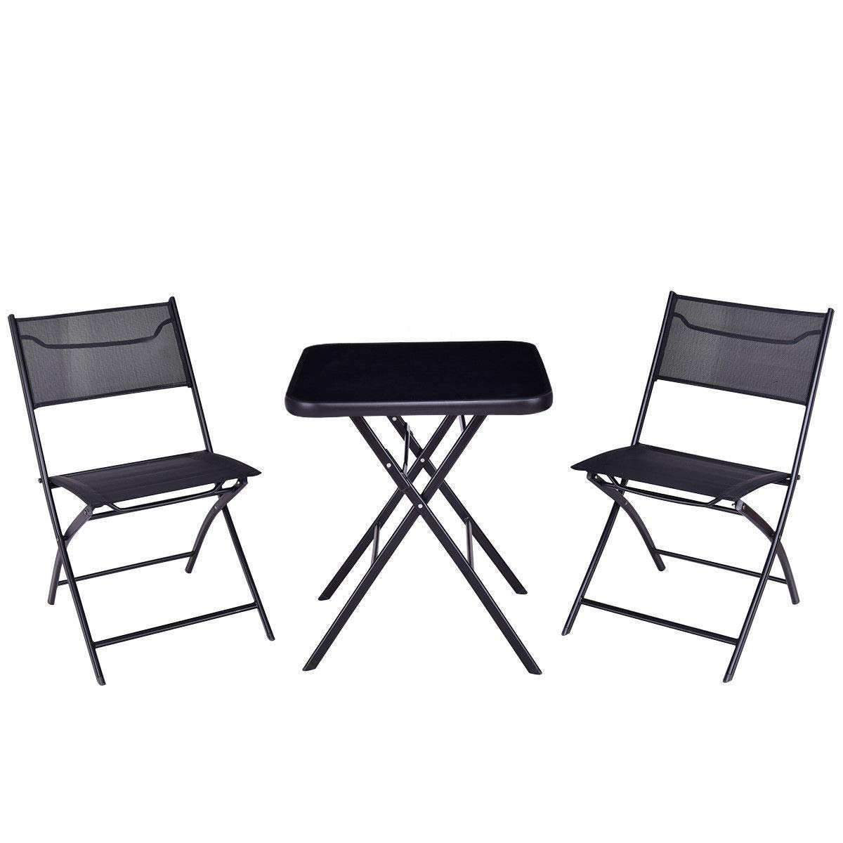 GHP Set of 3 Black Steel Textile Fiber & Tempered Glass Top Folding Table w 2-Pcs Chairs by Globe House Products (Image #2)