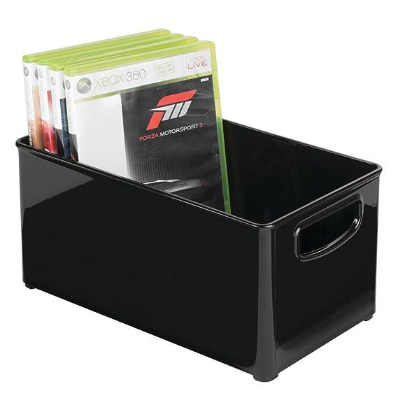 mDesign Caja organizadora para DVD, CD y videojuegos - Práctica caja para DVD con asas, fácil de transportar - Caja de plástico porta DVD para películas, ...