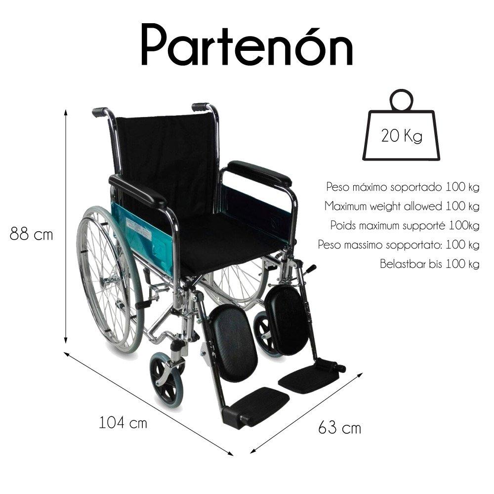 Sedia a rotelle pieghevole Parten/ón Braccioli e poggiapiedi estraibili Mod Mobiclinic Seduta: 45cm