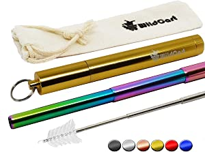 WildCart | Collapsible Rainbow Straw with Case | Portable | Reusable | Telescopic | Stainless Steel | Eco Friendly
