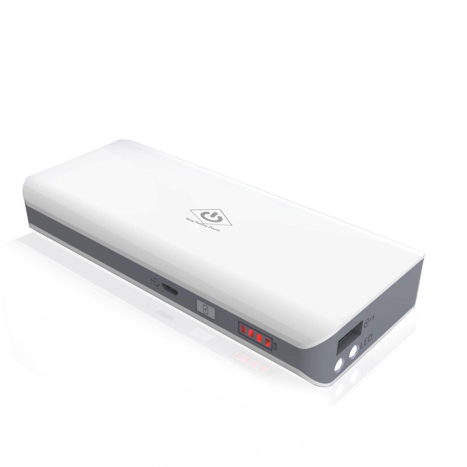 [Most Compact 10000mAh Portable Charger] Bay Valley PartsUltra High Capacity Power Bank with Most Powerful 2.1A Output for Galaxy Tab 3 2 iPhone 5 5S 4 iPod iPad Media Players Digital Camera(White)