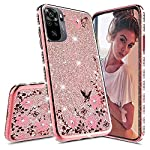 KC Bling Side Diamonds Glitter Auora Flowers 2 in 1 Soft Transparent Silicone Back Cover for Mi Redmi Note 10 & Mi Redmi…