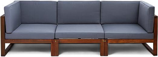 CHILLVERT Conjunto sofá 3 módulos de jardín Camberra de madera de eucalipto FSC, con cojines de poliéster grises: Amazon.es: Jardín