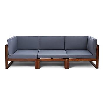 616ee63e CHILLVERT Conjunto sofá 3 módulos de jardín Camberra de madera de eucalipto  FSC, con cojines de poliéster grises: Amazon.es: Jardín