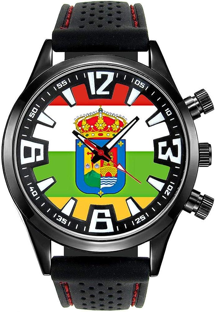 Timest - Bandera de La Rioja España - Reloj para Hombre con Correa de Silicona Negro Analógico Cuarzo SF524: Timest: Amazon.es: Relojes