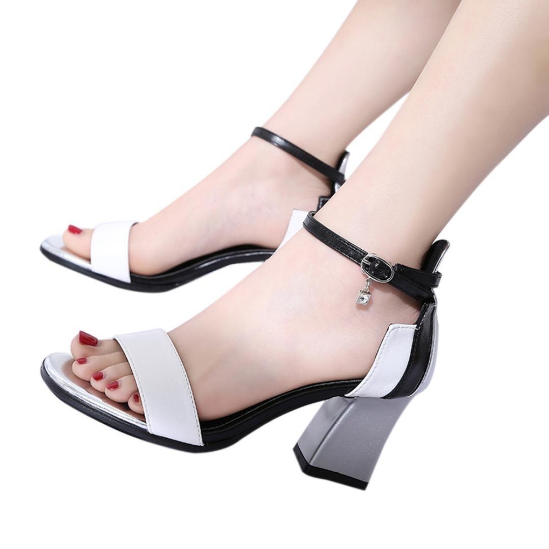 FORUU Women Beach Flat Slippers Holiday Wind Clip Toe Sandals Rhinestones Rome (38, White) by FORUU womens shoes